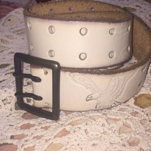 AE white leather belt
